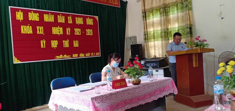 Kỳ họp thứ hai HĐND xã Rạng Đông khóa XXI, nhiệm kỳ 2021 - 2026